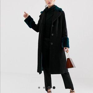 Helene Berman coat with faux fur trim